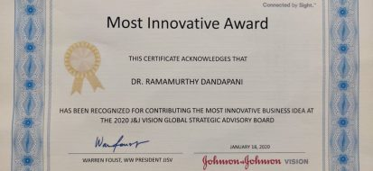 Most innovative award for our founder Dr. D. Ramamurthy